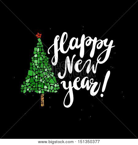 Happy New Year greeting card. Mosaic Christmas tree. Design element for poster, greeting card, postcard. Ceramic tile texture. Easy to recolor.