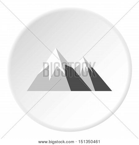 Snowy mountains icon. Flat illustration of snowy mountains vector icon for web