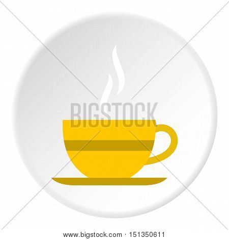 Yellow cup of tea icon. Flat illustration of yellow cup of tea vector icon for web
