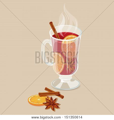 Mulled wine. Christmas hot drinks icon. Vector illustration with punch with orange, anise, cinnamon. Hot mulled wine drinks. Mulled wine winter beverage