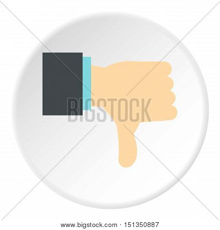 Gesture thumbs down icon. Flat illustration of gesture thumbs down vector icon for web