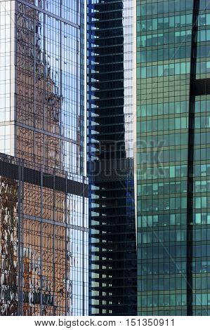 Office buildings, business skyscrapers in financial centre of city, modern glass architecture in commercial downtown, future design abstraction