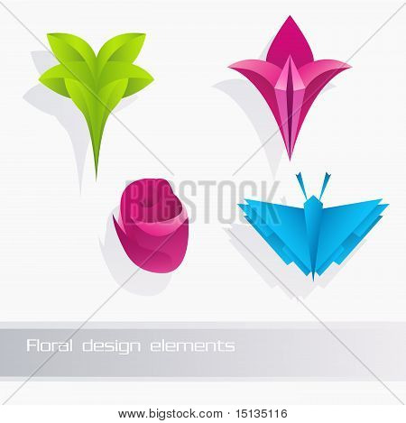 Nature floral design elements set