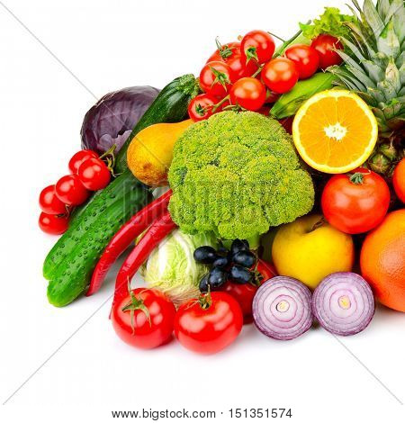 The composition of fresh fruits and vegetables. Isolated on white background.