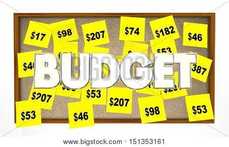 Budget Accounting Bookkeeping Sticky Notes 3d Illustration
