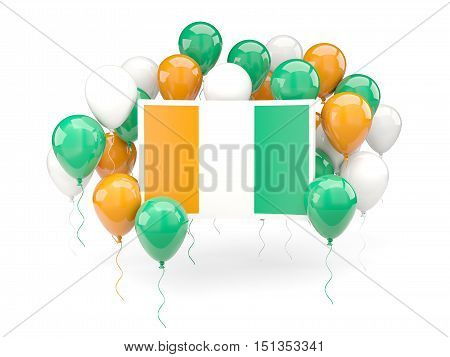 Flag Of Cote D Ivoire With Balloons