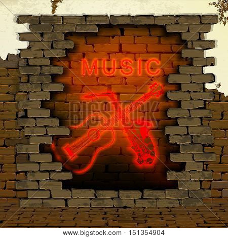 The inscription music with guitar and saxophone neon light tubes in the doorway of an old brick wall. It can be used as background with any image or text.