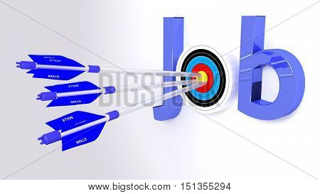 The word job where the o is a target hit by three blue arrows textured with skills search for work concept 3D illustration