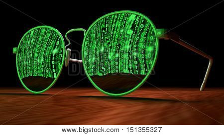 Brown table with closeup of sunglasses reflecting a screen with green digital matrix streams cybersecurity concept 3D illustration
