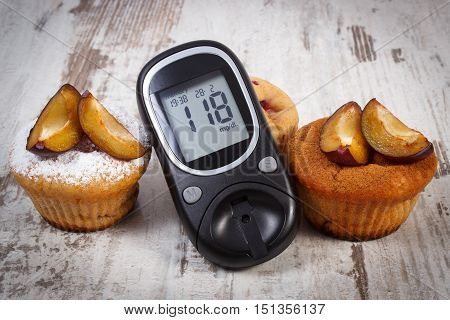 Glucose meter muffins with plums powdered sugar and cinnamon on old rustic wooden background diabetes and delicious dessert result of measurement of sugar
