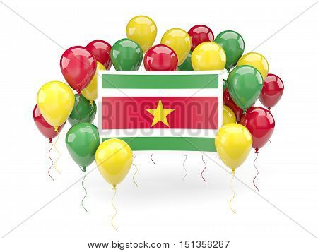 Flag Of Suriname With Balloons