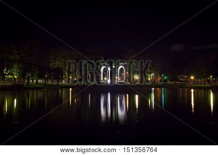 A tiny gazebo on an island in a lake in the Kadriorg park in Tallinn Estonia. The gazebo is used as a stage in the park festivals.