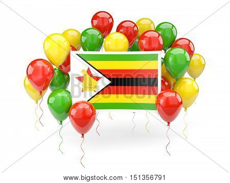 Flag Of Zimbabwe With Balloons