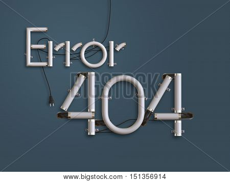 404 Error Page  Neon Text 3D Illustration With Copy Space