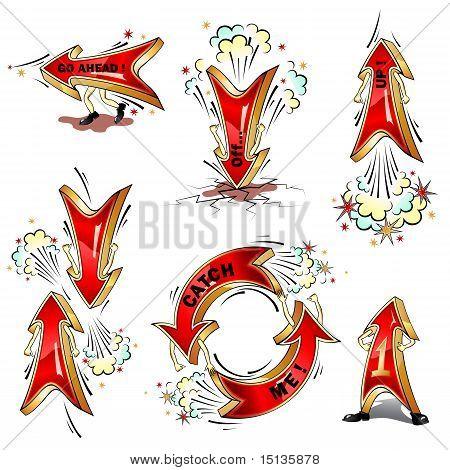 Cartoon Moving Vector Arrows