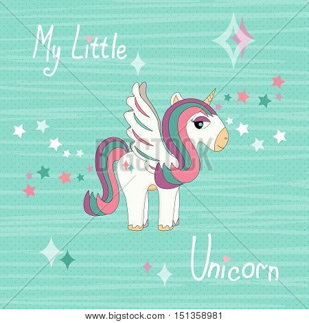 Stock Vector Magic Unicorn on striped background colors of mint. T-shirt design for kids.