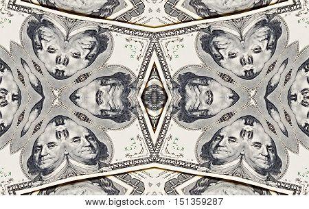 Background from a variety of hundred-dollar bills. Money money. Dollars background. Counterfeit money. Kaleidoscope.