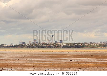 Cityscape of Auckland sky tower and city in New Zealand.