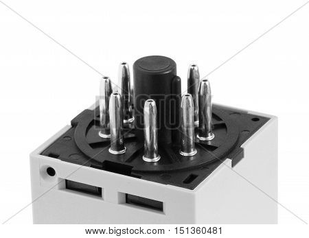 Electrical Device 8-pin Terminal Pattern isolated on white background close up