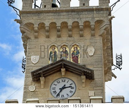 Detail Of The Clock Tower Of The Main Square Of In San Marino Co