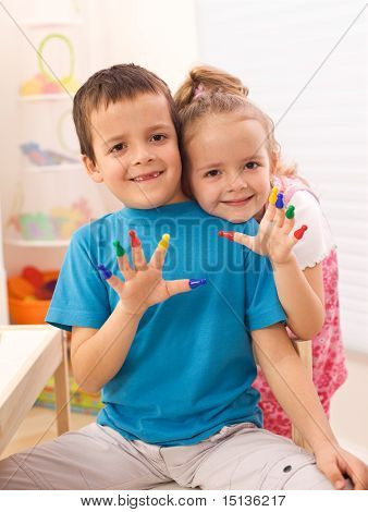 Two Kids In Their Room Playing