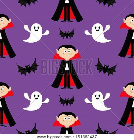 Seamless Pattern Count Dracula flying bat ghost spirit . Cute cartoon vampire character with fangs. Happy Halloween texture. Flat design. Violet background. Vector illustration.