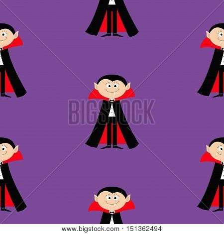 Seamless Pattern Count Dracula. Cute cartoon vampire character with fangs. Happy Halloween texture. Flat design. Violet background. Vector illustration.