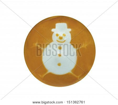 Snowman-shaped Latte Art, coffee isolated on white background