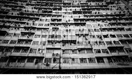 Hong Kong Old Resident Apartment. Local Life Living In A Pack Space Of World Most Expensive City