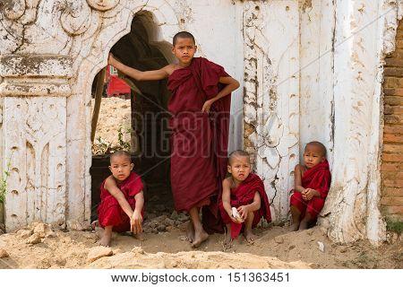 Novice monks or Little monks in Bagan MandalayMyanmar