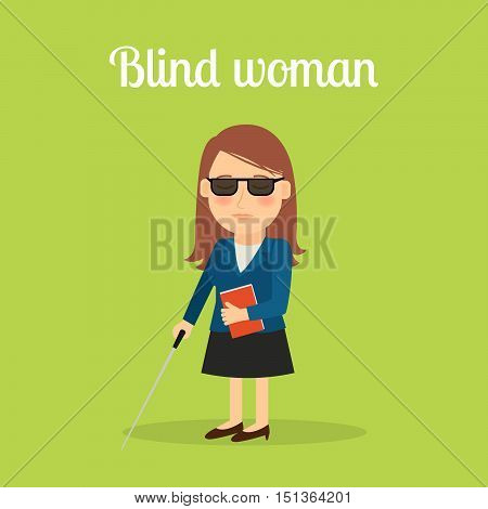 Disabled blind woman cartoon illustration. Vector icon