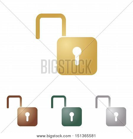 Unlock Sign Illustration. Metal Icons On White Backgound.