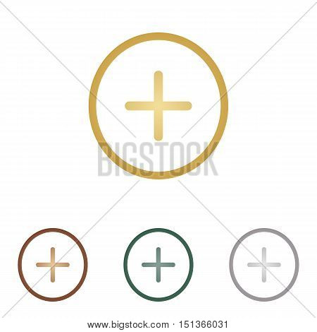 Positive Symbol Plus Sign. Metal Icons On White Backgound.