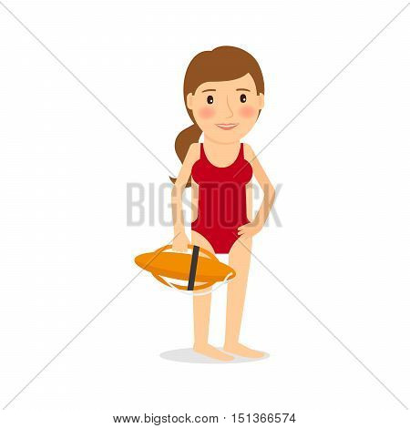 People occupation character. Lifeguard woman vector illustration