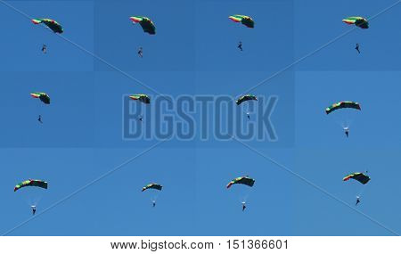 Parachutist collage/ The parachutist glides by air.