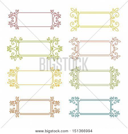 Set of vintage frames. Frame with swirls and decor of the leaves. Decorative frame for banners, invitations, greeting cards, business cards. Colorful frame in vintage style. Vector illustration