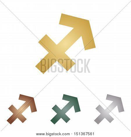 Sagittarius Sign Illustration. Metal Icons On White Backgound.