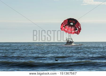 Motorboat towing a red parasail parachute across a calm blue ocean. Florida.