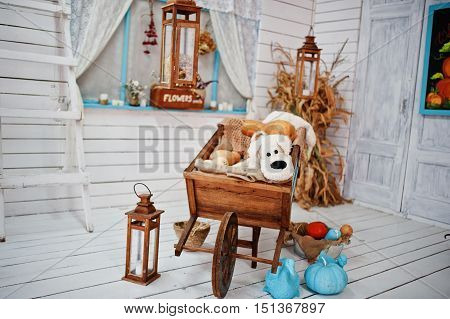 Decoration of cart with pumpkins lanterns and soft toy dog on wooden room