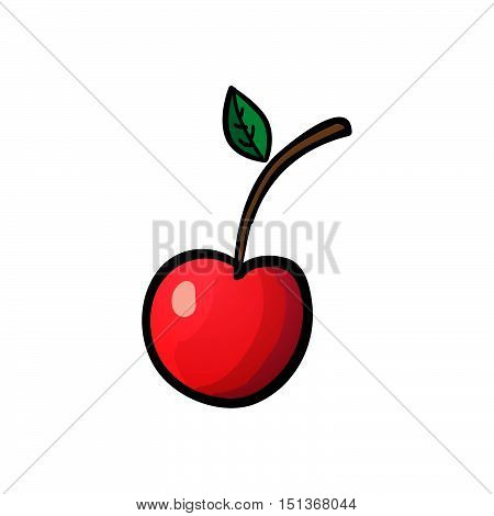 Red cherry isolated on white background. Vector outline illustration. Sweet juicy fruit. Ripe berry. Modern simple flat vegetarian sign. Minimalistic design style. Colorful berry icon. Eco food internet concept. For logo web apps buttons