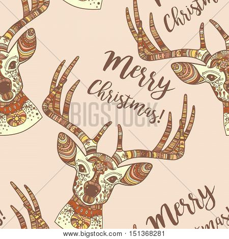 Hand drawn doodle deer face, Merry Christmas seamless pattern. Vector illustration
