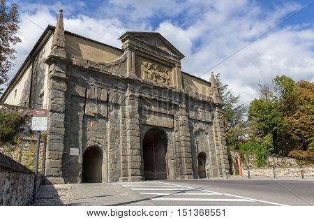 Medieval San Agostino gate in Bergamo Italy.
