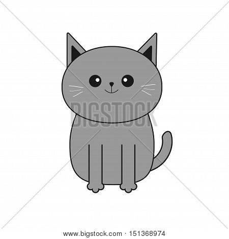 Cute gray cartoon cat. Mustache whisker. Funny smiling character. Contour Flat design. White background. Isolated. Vector illustration
