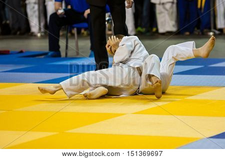 Orenburg, Russia - 16 April 2016: Boys Compete In Judo