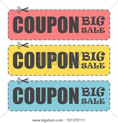 Coupon design, Sale icon, Shopping concept, big sale