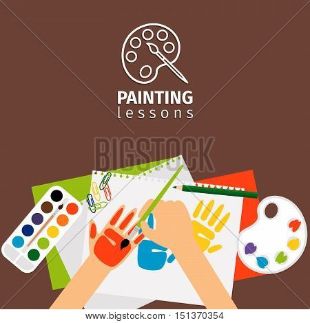 Kids painting lessons painting craft vector illustration