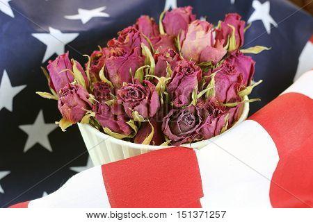 US flag rose flower concept of victim