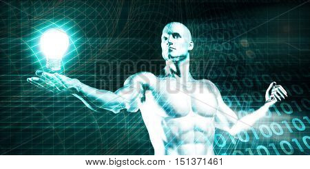 Englightened Man Holding a Light Bulb on Tech Background 3D Illustration