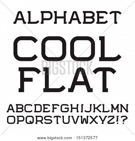 Black capital letters. Cool flat font. Isolated english alphabet.