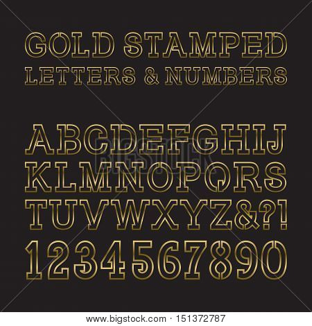 Gold stamped letters and numbers. Trendy and stylish golden font. Isolated latin alphabet with figures.